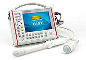 Ultra-portable ultrasound scanner ideal for any use by emergency medicine and military medicine including disaster medicine. Useful for first diagnostics on site, FAST protocols. Designed for rapid diagnostics of abdominal and pelvic through integuments as well as endovaginal and endorectal ultrasonic testing